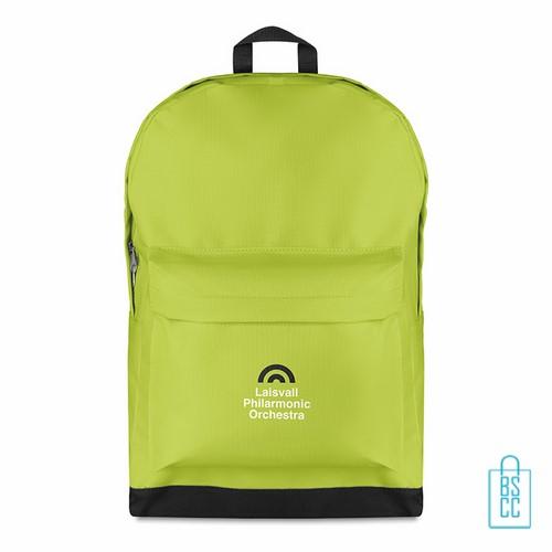 Rugzak budget bedrukken groen, groene rugzak bedrukt, goedkope rugzak bestellen