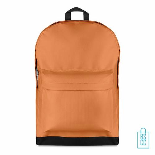 Rugzak budget bedrukken oranje, oranje rugzak bedrukt, goedkope rugzak bestellen