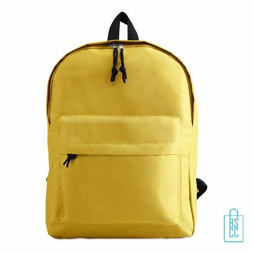Rugzak goedkoop bedrukt geel, gele rugzak bedrukken, goedkope eastpack rugtas bedrukken