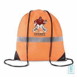 Rugzakje safe bedrukt met logo, rugzakje met reflector, oranje rugzakje bedrukken