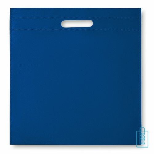 Documententas non woven bedrukken blauw, documententas bedrukken, documententas bedrukt, tassen bedrukken