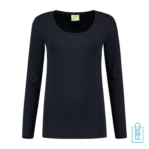 Longsleeve Dames Goedkoop bedrukken Donkerblauw, longsleeve bedrukt, bedrukte longsleeve met logo