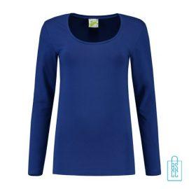 Longsleeve Dames Goedkoop bedrukken blauw, longsleeve bedrukt, bedrukte longsleeve met logo