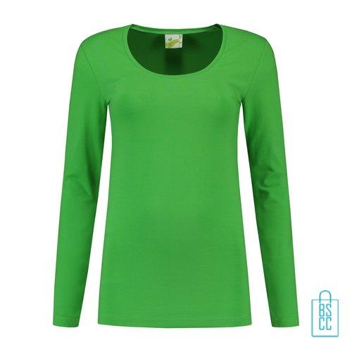 Longsleeve Dames Goedkoop bedrukken groen, longsleeve bedrukt, bedrukte longsleeve met logo