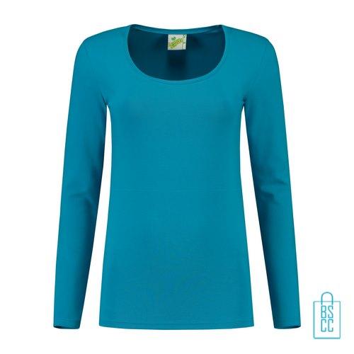 Longsleeve Dames Goedkoop bedrukken lichtblauw, longsleeve bedrukt, bedrukte longsleeve met logo