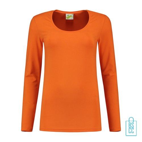Longsleeve Dames Goedkoop bedrukken oranje, longsleeve bedrukt, bedrukte longsleeve met logo