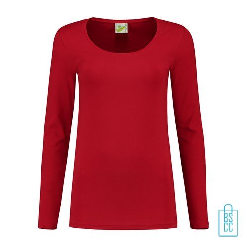 Longsleeve Dames Goedkoop bedrukken rood, longsleeve bedrukt, bedrukte longsleeve met logo