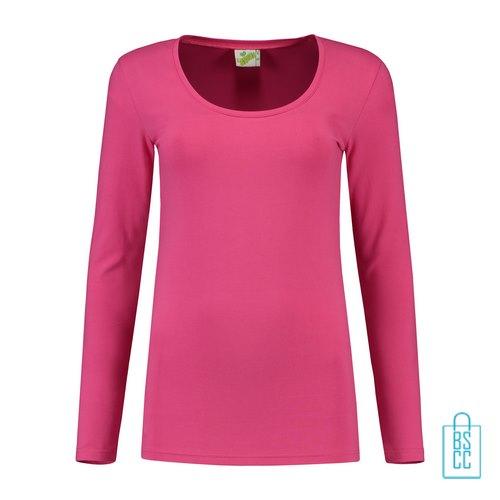Longsleeve Dames Goedkoop bedrukken roze, longsleeve bedrukt, bedrukte longsleeve met logo