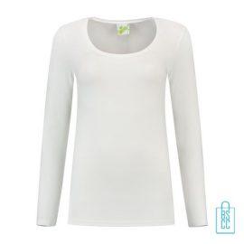 Longsleeve Dames Goedkoop bedrukken wit, longsleeve bedrukt, bedrukte longsleeve met logo