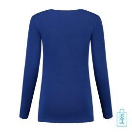 Longsleeve Dames Goedkoop bedrukt blauw, longsleeve bedrukt, bedrukte longsleeve met logo