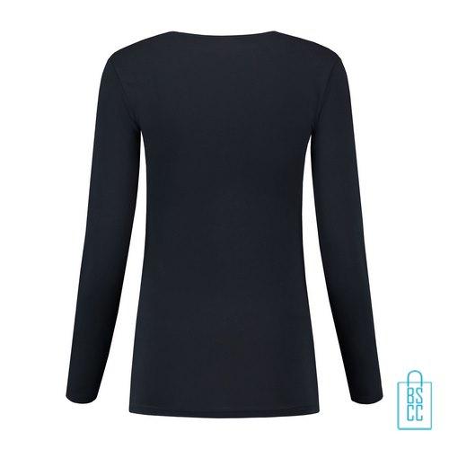 Longsleeve Dames Goedkoop bedrukt donkerblauw, longsleeve bedrukt, bedrukte longsleeve met logo