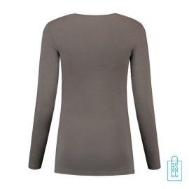 Longsleeve Dames Goedkoop bedrukt grijs, longsleeve bedrukt, bedrukte longsleeve met logo