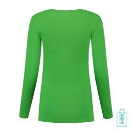 Longsleeve Dames Goedkoop bedrukt groen, longsleeve bedrukt, bedrukte longsleeve met logo