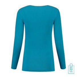 Longsleeve Dames Goedkoop bedrukt lichtblauw, longsleeve bedrukt, bedrukte longsleeve met logo