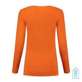 Longsleeve Dames Goedkoop bedrukt oranje, longsleeve bedrukt, bedrukte longsleeve met logo