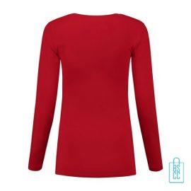 Longsleeve Dames Goedkoop bedrukt rood, longsleeve bedrukt, bedrukte longsleeve met logo