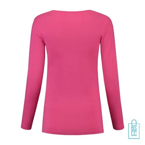 Longsleeve Dames Goedkoop bedrukt roze, longsleeve bedrukt, bedrukte longsleeve met logo