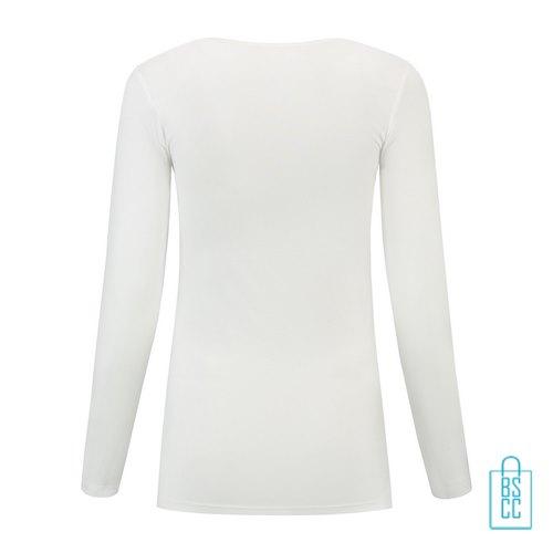 Longsleeve Dames Goedkoop bedrukt wit, longsleeve bedrukt, bedrukte longsleeve met logo