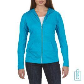 Longsleeve Dames Hoodie bedrukken aqua, hoodie bedrukt, bedrukte hoodie met logo