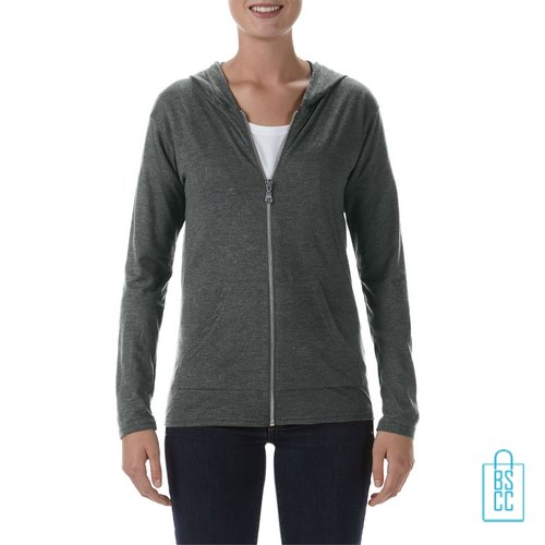 Longsleeve Dames Hoodie bedrukken grijs, hoodie bedrukt, bedrukte hoodie met logo