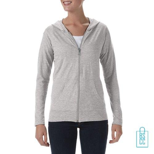 Longsleeve Dames Hoodie bedrukken lichtgrijs, hoodie bedrukt, bedrukte hoodie met logo