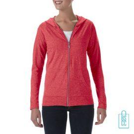 Longsleeve Dames Hoodie bedrukken rood, hoodie bedrukt, bedrukte hoodie met logo