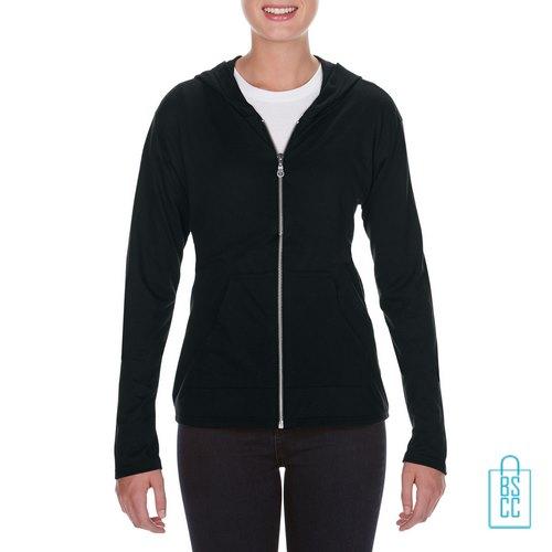 Longsleeve Dames Hoodie bedrukken zwart, hoodie bedrukt, bedrukte hoodie met logo
