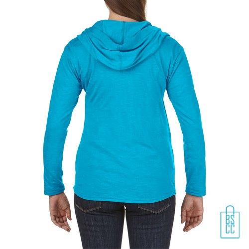Longsleeve Dames Hoodie bedrukt aqua, hoodie bedrukt, bedrukte hoodie met logo
