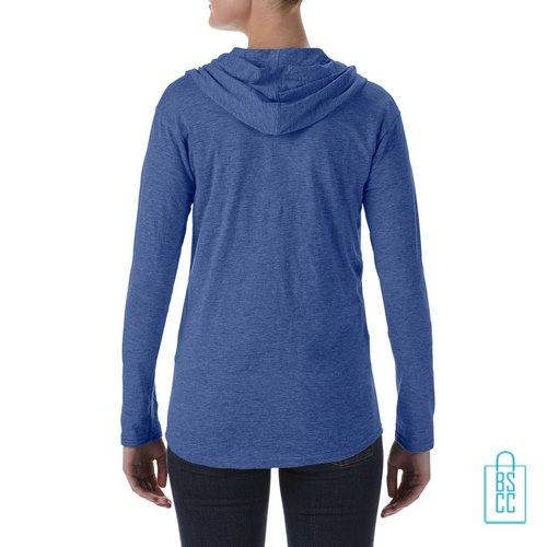 Longsleeve Dames Hoodie bedrukt blauw, hoodie bedrukt, bedrukte hoodie met logo