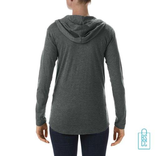 Longsleeve Dames Hoodie bedrukt grijs, hoodie bedrukt, bedrukte hoodie met logo