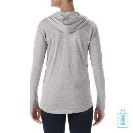 Longsleeve Dames Hoodie bedrukt lichtgrijs, hoodie bedrukt, bedrukte hoodie met logo