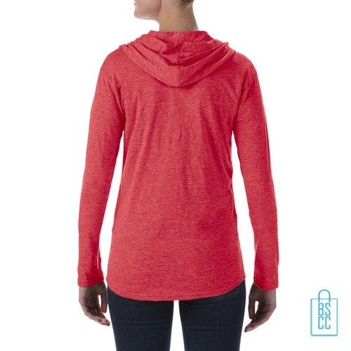 Longsleeve Dames Hoodie bedrukt rood, hoodie bedrukt, bedrukte hoodie met logo