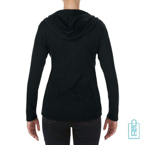 Longsleeve Dames Hoodie bedrukt zwart, hoodie bedrukt, bedrukte hoodie met logo