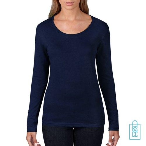 Longsleeve Dames basic bedrukken donkerblauw, longsleeve bedrukt, bedrukte longsleeve met logo