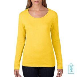 Longsleeve Dames basic bedrukken geel, longsleeve bedrukt, bedrukte longsleeve met logo