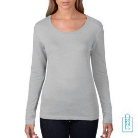Longsleeve Dames basic bedrukken grijs, longsleeve bedrukt, bedrukte longsleeve met logo