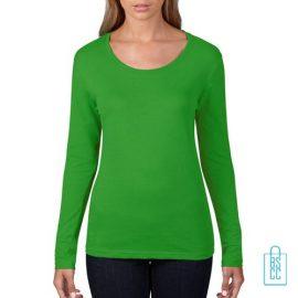 Longsleeve Dames basic bedrukken groen, longsleeve bedrukt, bedrukte longsleeve met logo