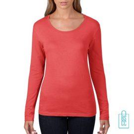 Longsleeve Dames basic bedrukken rood, longsleeve bedrukt, bedrukte longsleeve met logo