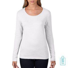 Longsleeve Dames basic bedrukken wit, longsleeve bedrukt, bedrukte longsleeve met logo