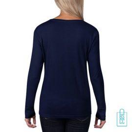 Longsleeve Dames basic bedrukt donkerblauw, longsleeve bedrukt, bedrukte longsleeve met logo