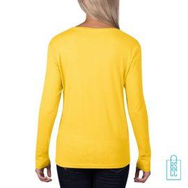 Longsleeve Dames basic bedrukt geel, longsleeve bedrukt, bedrukte longsleeve met logo