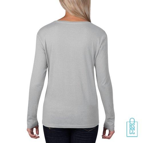 Longsleeve Dames basic bedrukt grijs, longsleeve bedrukt, bedrukte longsleeve met logo