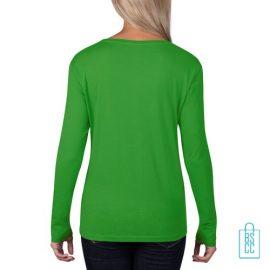 Longsleeve Dames basic bedrukt groen, longsleeve bedrukt, bedrukte longsleeve met logo