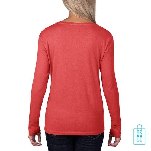 Longsleeve Dames basic bedrukt rood, longsleeve bedrukt, bedrukte longsleeve met logo