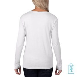 Longsleeve Dames basic bedrukt wit, longsleeve bedrukt, bedrukte longsleeve met logo