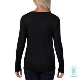Longsleeve Dames basic bedrukt zwart, longsleeve bedrukt, bedrukte longsleeve met logo