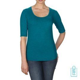 Longsleeve Dames lage hals bedrukken blauw, longsleeve bedrukt, bedrukte longsleeve met logo