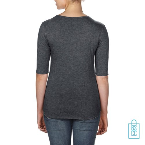Longsleeve Dames lage hals bedrukken grijs, longsleeve bedrukt, bedrukte longsleeve met logo