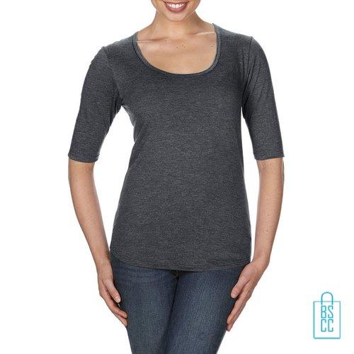 Longsleeve Dames lage hals bedrukken heather grijs, longsleeve bedrukt, bedrukte longsleeve met logo
