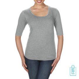 Longsleeve Dames lage hals bedrukken lichtgrijs, longsleeve bedrukt, bedrukte longsleeve met logo